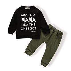 Baby Kids Toddler Boys Girls Clothing Printed Tops Pants Leggings Outfits Clothes Set(12-18 Months)