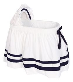 Baby Doll Bedding Modern Hotel Style II Bassinet Skirt, Navy