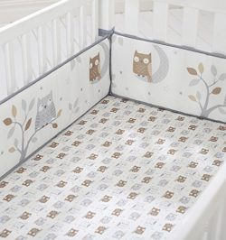 Cuddletime Starry Night Owls Crib Bumper, Gray
