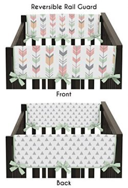 Sweet Jojo Designs 2-Piece Grey, Coral and Mint Woodland Arrow Teething Protector Cover Wrap Bab ...
