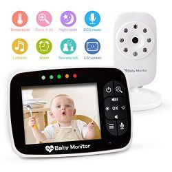 Video Baby Monitor 3.5″ Large LCD Screen Display with Night Vision Camera, Two Way Talk Au ...