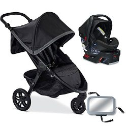 Britax B-Free / B-Safe 35 Infant Baby Stroller Travel System – Pewter / Midnight with Diap ...