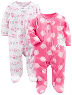Simple Joys by Carter's Girls' 2-Pack Fleece Footed Sleep and Play, Owl,Unicorn, Preemie