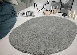 Sweethome Stores COZY2763-Oval Shaggy Rug, 5'3″ X7′ Oval, Grey