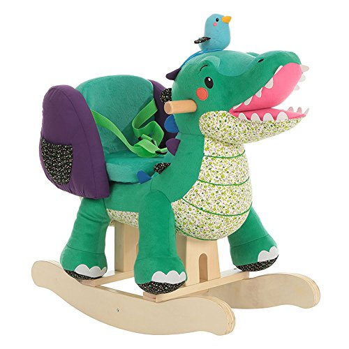 Labebe Child Rocking Horse Toy, Stuffed Animal Rocker, Green Crocodile Plush Rocker Toy for Kid  ...