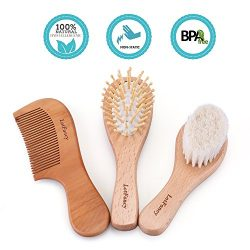 3PCS Baby Hair Brush and Comb Set – LotFancy Natural Soft Goat Bristle Brush for Cradle Ca ...