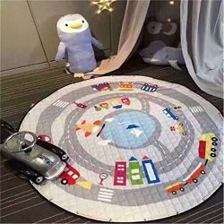 Hever Kids Cotton Round Rug Baby Play Mat and Toy Organizer Storage 5959 Inch