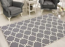 Sweet Home Stores Clifton Collection Moroccan Trellis Design  Felt Area Rug,  Light Grey