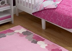 Delta Children Soft Kids Area Rug (2.5 foot x 4 foot) Girls Clouds. Pink, Hot Pink, Grey