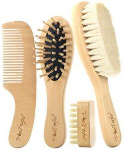 Organic Soft Goat Hair Baby Brush Set | Wooden Bristles Baby Brush Cradle Cap Massage Brush | Ec ...