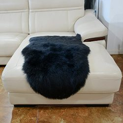 HUAHOO Faux Fur Sheepskin Rug Black Kids Carpet Soft Faux Sheepskin Chair Cover Home Décor Accen ...