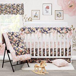 Brandream Crib Bedding Set Girl Chic Rose Ruffle Baby Bedding with Crib Rail Cover and Crib Bows ...