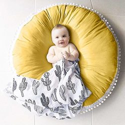 Pueri Baby Play Mat Pure Cotton Woolen Ball Fabric Round Kids' Room Rug Play Crawling Mat  ...