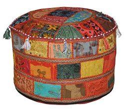 Ethnic Decorative Pillow Decor, Indian Pouffe, Round Pouf,Boho Foot Stool, Bohemian Floor Ottoma ...