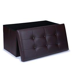 WoneNice Large Faux Leather Ottoman Folding Storage Pouffe Toy Box Foot Stool Seat 76x38cm (Dark ...