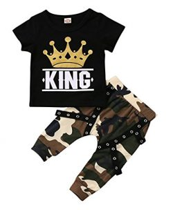 KONIGHT Toddler Baby Boy Clothes King Short Sleeve Black T-Shirt +Camo Pants Outfits Tops Set (B ...