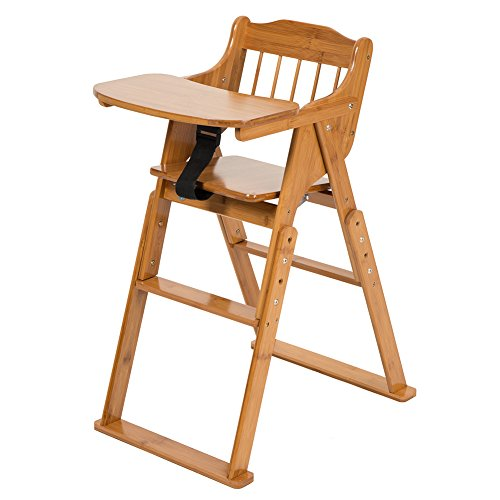 elenker baby wooden folding high chair with tray adjustable height chair babiesme babiesme. Black Bedroom Furniture Sets. Home Design Ideas