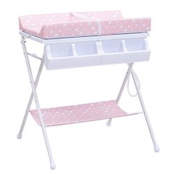 Costzon Baby Changing Table, Diaper Station Nursery Organizer, Infant Bath Table with Tube Cushi ...
