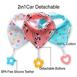 Baby Bandana Drool Bibs 3-Pack and Teething toys 3-Pack Made with 100% Organic Cotton, Super Abs ...