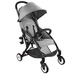 Single Baby Stroller with Dual-Brake, Portable LightWeight Travel Pram with Large Canopy For Inf ...