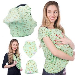 Nursing Cover Baby bibs & Carry bag with STYLISH birdies print Premium quality material Wide ...
