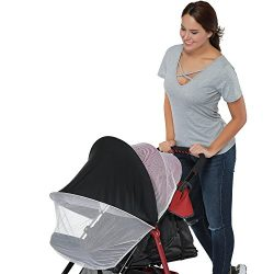 Stroller Mosquito Net 2-in-1 with Sun Blocker Ultra Fine Mesh Protection Against Mosquito Baby S ...