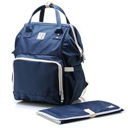 Diaper Bag Backpack by Quatre & Co. – Unisex Water Resistant Maternity Bag with Changi ...