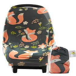 Baby Car Seat Cover Canopy and Nursing Cover | Breathable, Stretchy, Universal Fit | Multi-use 5 ...