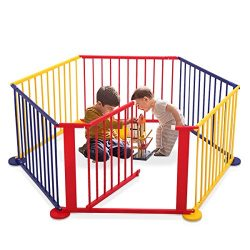 LAZYMOON Multicolored Wood Baby Playpen 6 Panel Kids Safety Play Center Yard Home Indoor Outdoor ...