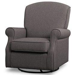 Delta Children Parker Nursery Glider Swivel Rocker Chair, Dark Grey