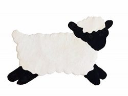 Lamb Nursery Rug, Play Mat, Blanket or Bed Cover in Plush Faux Fur with Non-Slip Suede Backing