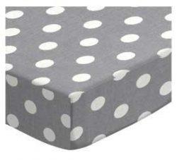 SheetWorld Fitted Bassinet Sheet – Polka Dots Grey – Made In USA