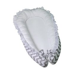 Lappi Baby Lounger / Bed Bassinet – Gray Chevron Unisex Baby Nest – 100% Cotton Cosl ...