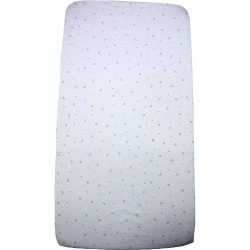 BabyPrem Nursery Bedding 1 Fitted Cradle Mattress Sheet 17×33″ WHITE MOON STARS