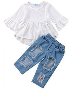 Canis 3pcs Baby Girls Kids Off Shoulder Lotus Leaf Top Holes Denim Jeans Headband Outfits Set (1 ...