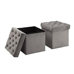 Christies Home Living Foldable Storage Ottoman Cube Foot Rest, Grey (2 Pack)