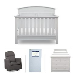 Serta Ashland 5-Piece Nursery Furniture Set (Serta Convertible Crib, 4-Drawer Dresser, Changing  ...