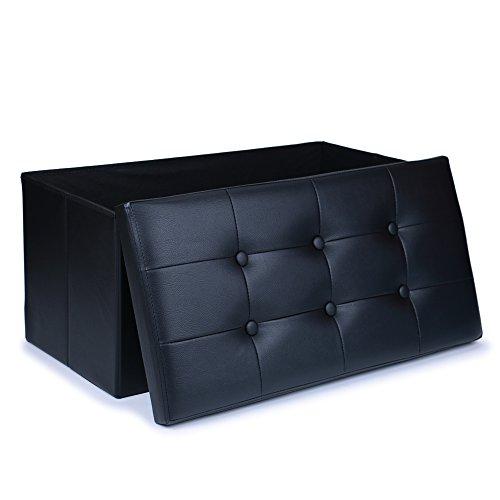 Wonenice Large Faux Leather Ottoman Folding Storage Pouffe