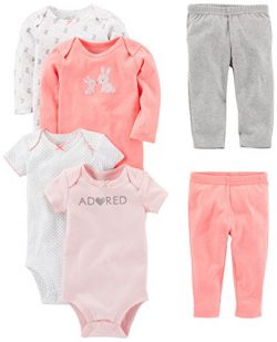 Simple Joys by Carter's Girls' 6-Piece Little Character Set, Pink Bunny, 24 Months