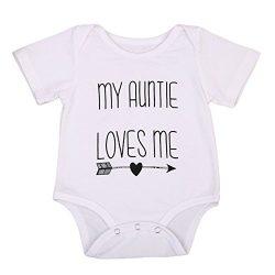 Guogo Newborn Baby Auntie Letter Print Short Sleeve Romper Infant Summer Clothing (0-3M, My aunt ...