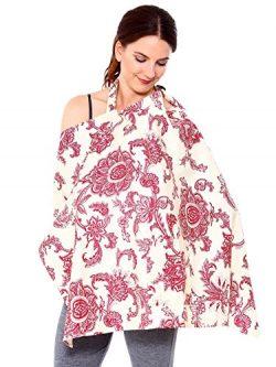 Women Nursing Cover Breastfeeding Baby Blanket Poncho Cotton, White Background
