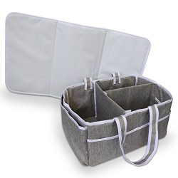 Bellizzi Diaper Caddy Organizer with Changing Mat – Portable Nappy Storage Basket & Ca ...