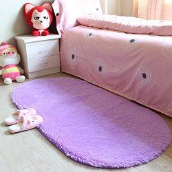 YJ.GWL High Pile Soft Shag Oval Rugs Fluffy Children Bedroom Nursery Carpets Anti-Slip Backed Ho ...