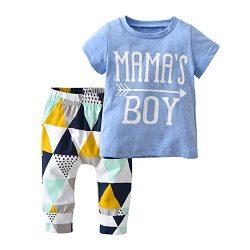 Derouetkia Baby Boys Summer Mama's Boy Short Sleeve T-Shirt Tops Geometric Pants Clothes S ...