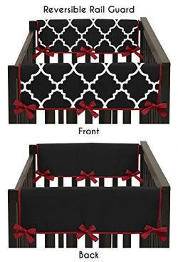 Sweet Jojo Designs 2-Piece Red and Black Trellis Lattice Teething Protector Cover Wrap Baby Crib ...