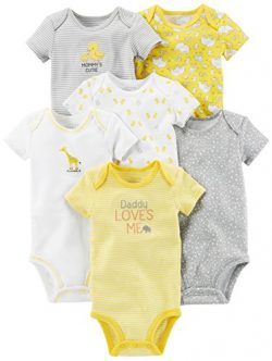 Simple Joys by Carter's Baby 6-Pack Short-Sleeve Bodysuit, Yellow/Gray, 3-6 Months