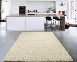Sweet Home Stores Cozy Shag Collection Cream Solid Shag Rug (6'7 X9'3) Contemporary  ...