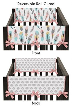 Sweet Jojo Designs 2-Piece Feather Collection Teething Protector Cover Wrap Baby Crib Side Rail  ...