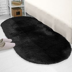 YJ.GWL High Pile Soft Shag Oval Rugs Fluffy Children Bedroom Nursery Carpets Anti-Slip Backed Ho ...