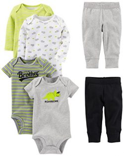 Simple Joys by Carter's Baby Boys 6-Piece Little Character Set, Green/Grey Rhino, 24 Months